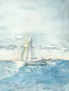 Aquarelle bateau suf St Jean Paul II